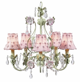 pink/green  5 arm flower garden chandelier w/daisy pearl shades
