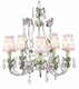 pink/green 5 arm flower garden chandelier w/flower sconce shades