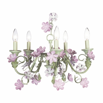 pink/green 5 arm leaf & flower chandelier w/pink pearl shades
