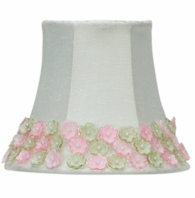 pink-green flower border chandelier shade