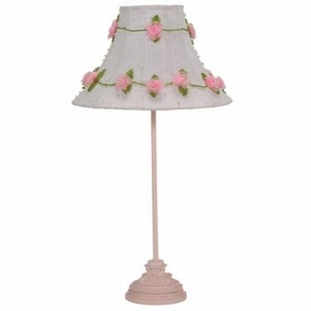 pink leaf scroll medium lamp base