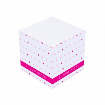 pink love mom sticky note cube