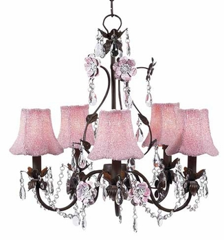 pink/mocha 5-arm flower garden chandelier w/beaded shade