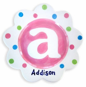 pink monogram baby plate