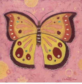 pink peace butterfly wall art