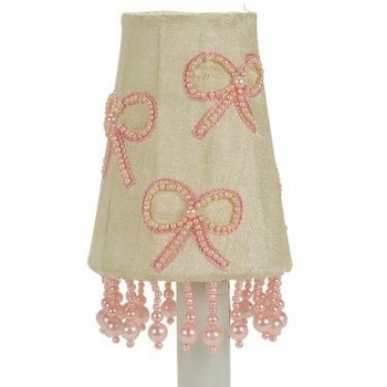 pink pearl bows sconce shade
