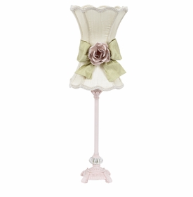 pink scroll lamp with ivory pink rose shade