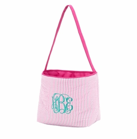 pink seersucker stripe easter basket bucket bag