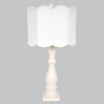 pink shabby chic lamp with white scalloped shade