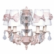 pink stacked glass ball chandelier with ivory shades