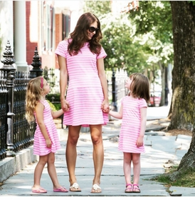 pink stripe girls jetty tank dress