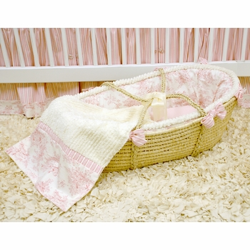 pink toile moses basket - unavailable