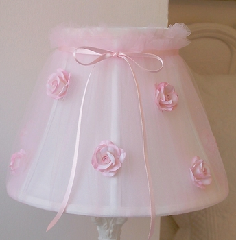 Pink Tulle Lamp Shade with Roses