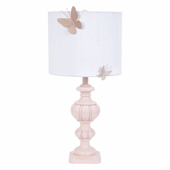 pink urn lamp with butterfly shade