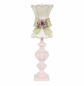 pink urn lamp with ivory scallop shade