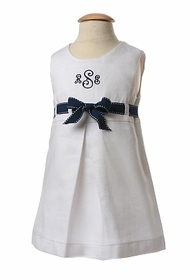 pique dress with pickstitched grosgrain ribbon