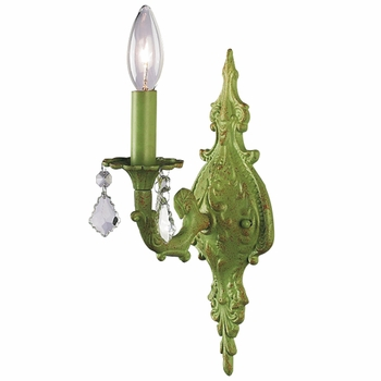 pistachio 1-arm wall sconce w/ ivory ribbon embroidery shade