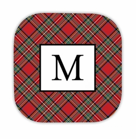 plaid red hardback rounded coaster<br>(set of 4)