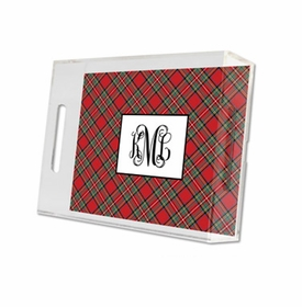 plaid red lucite tray - small