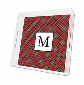 plaid red lucite tray - square