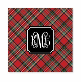 plaid red square paper coaster<br>set of 50