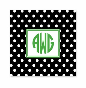 polka dot black square paper coaster<br>set of 50