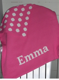 polka dot name blanket