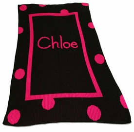 polka dot solid border and name blanket