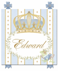 posh prince crown french blue personalized name plaques