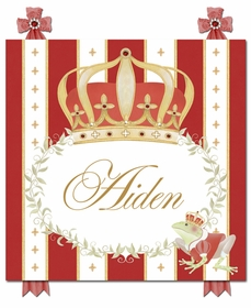 posh prince crown ruby red personalized name plaques
