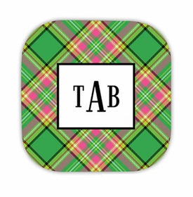 preppy plaid hardback rounded coaster<br>(set of 4)