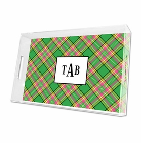 preppy plaid lucite tray - large