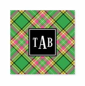 preppy plaid square paper coaster<br>set of 50