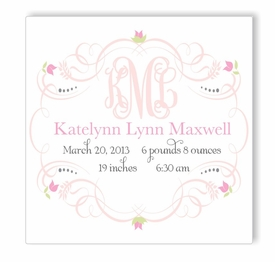 princess monogram birth announcement