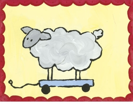 pull along sheep - wall art