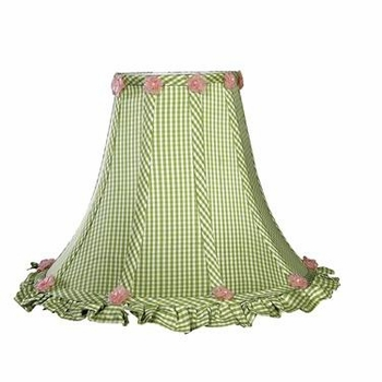 pumpkin lamp-green check ruffled shade - not available