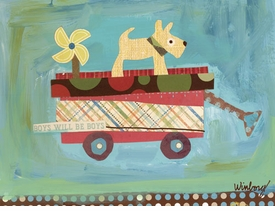 pup on a wagon wall art