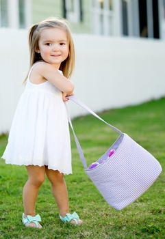 purple seersucker stripe easter basket