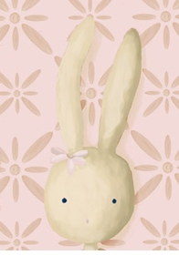 rae the bunny on powder pink wall art canvas reproduction
