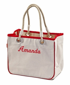 red accented rope tote