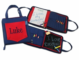 red and blue personalized crayola doodlebag