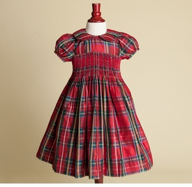 red plaid little girls party dress