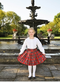 red plaid silk party skirt