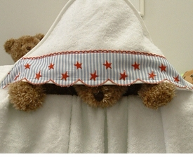 red star & stripe hooded towel