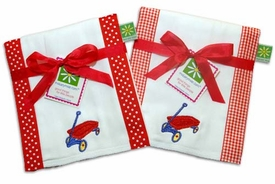red wagon burp cloth set