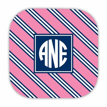repp tie pink & navy hardback rounded coaster<br>(set of 4)