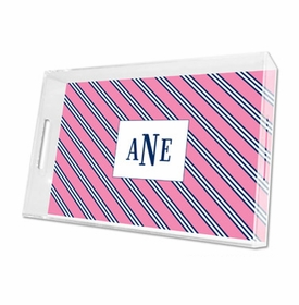 repp tie pink & navy lucite tray - large