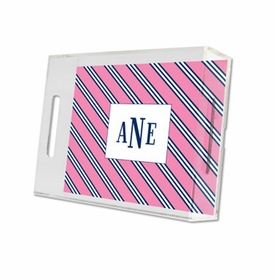repp tie pink & navy lucite tray - small