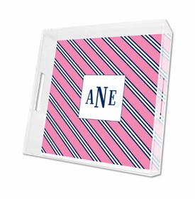 repp tie pink & navy lucite tray - square