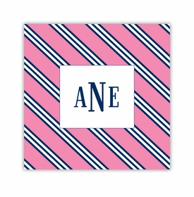 repp tie pink & navy square paper coaster<br>set of 50